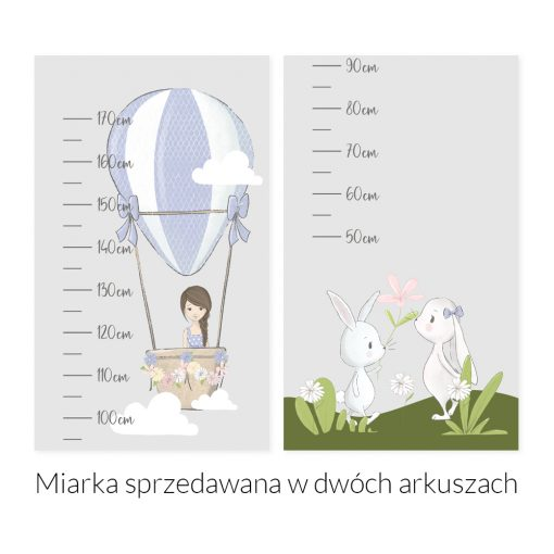 Miarka wzrostu dziewczynka i króliczki