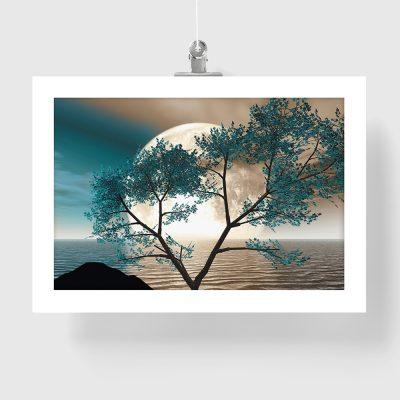 niebieski drzewo na plakacie
