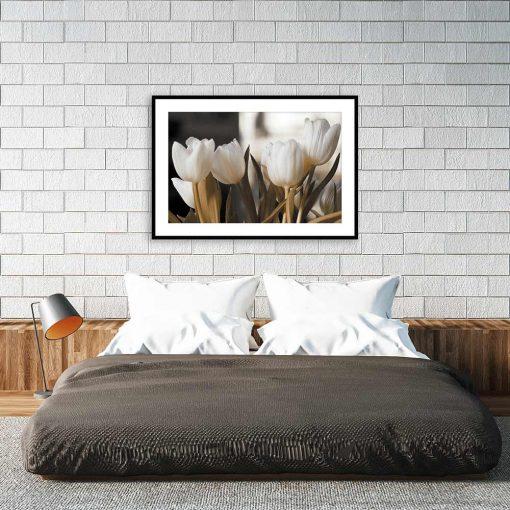 białe tulipany plakat nad łóżko