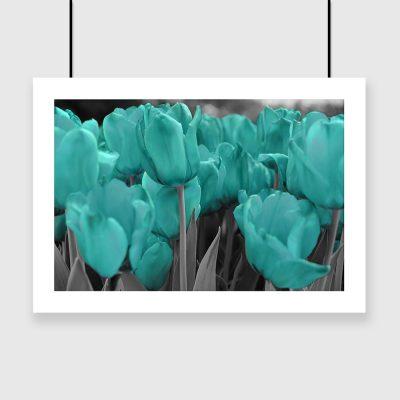 turkusowy plakat w kwiaty