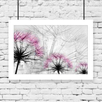 różowe dmuchawce na plakacie