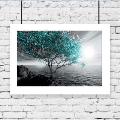 drzewo, woda na plakacie