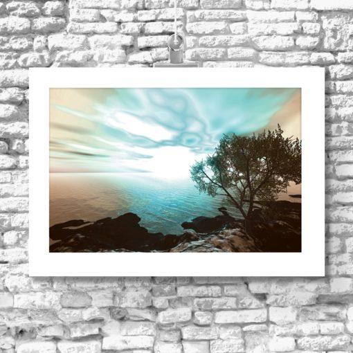 plakat z widokiem na brzeg morza