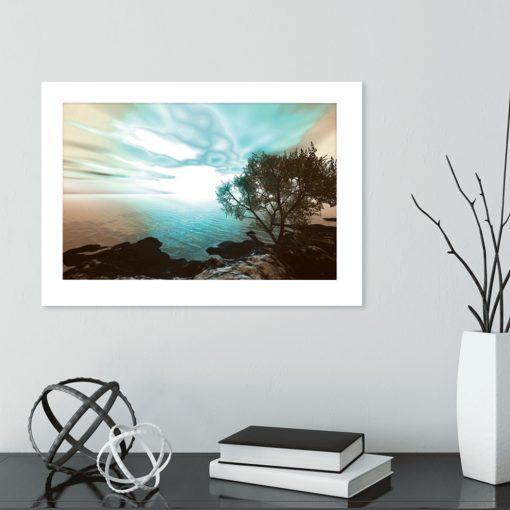 plakat morze, słońca , drzewo