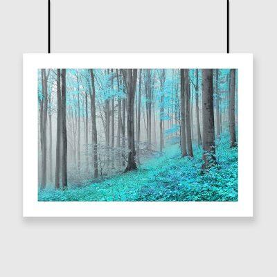turkusowe drzewa w lesie plakat