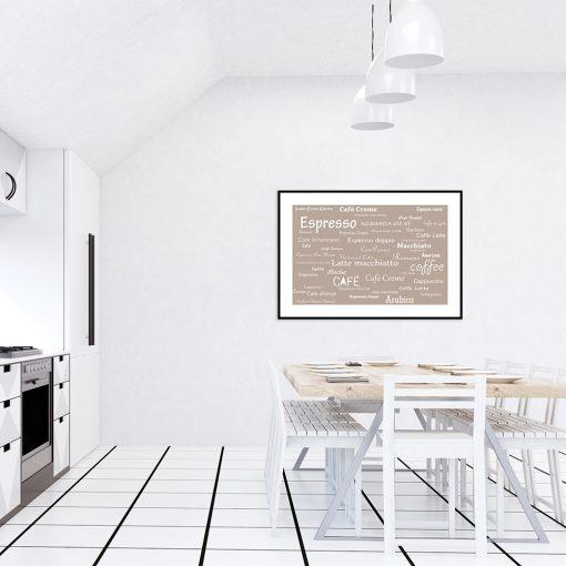 kremowy bezowy plakat do kuchni