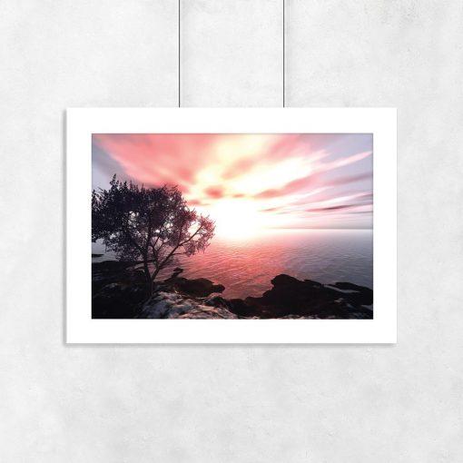 plakat z zachodzącym słońcem