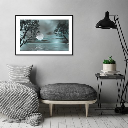 plakat woda księżyc drzewa