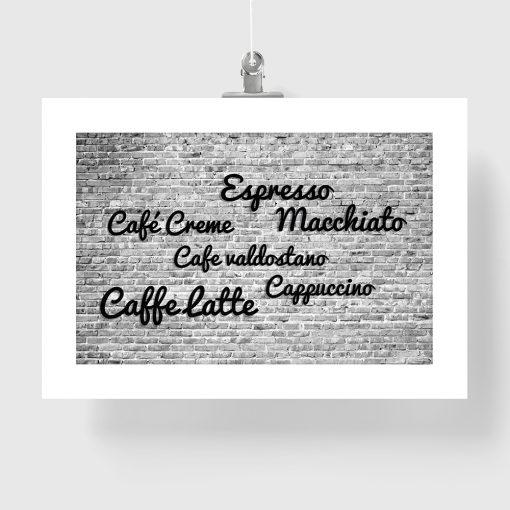 plakat czarno biały z nazwami kaw