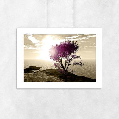 plakat z motywem drzewa i morza