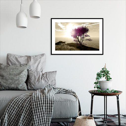 plakat drzewo na brzegu morza