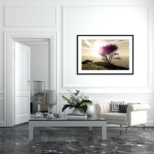 plakat drzewo z fioletowymi liśćmi