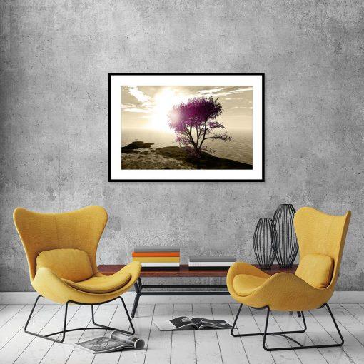 plakat z samotnym drzewem sepia