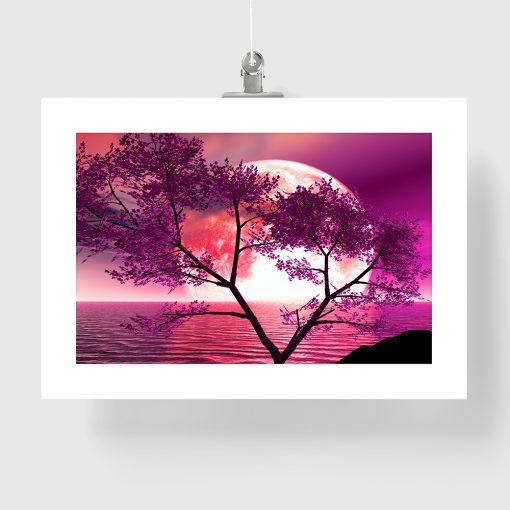 plakat księżyc na różowym niebie