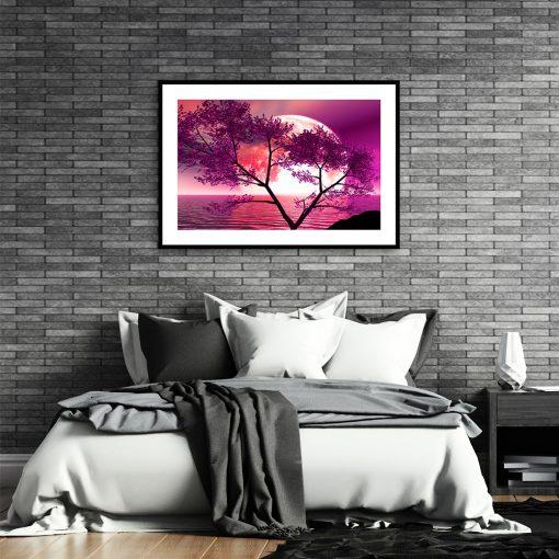 plakat z księżycem nad łóżko