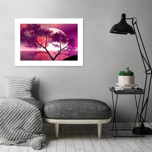 plakat z drzewem na tle księżyca