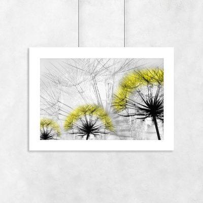 trzy dmuchawce na plakacie żółty