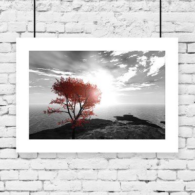 plakat pojedyncze drzewo