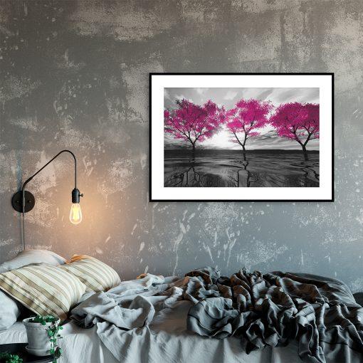 motyw roślinny na plakacie nad łóżko