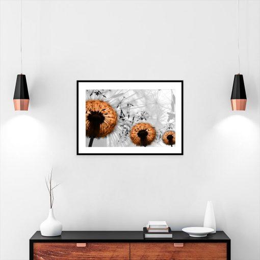 czarno-biały plakat z brązowym dmuchawcem