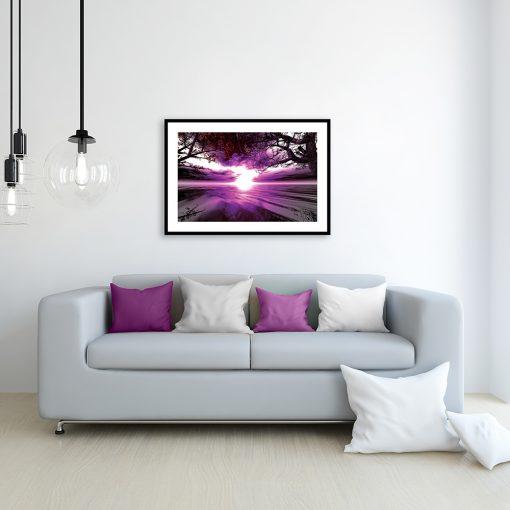 plakat z zachodem słońca nad kanapę