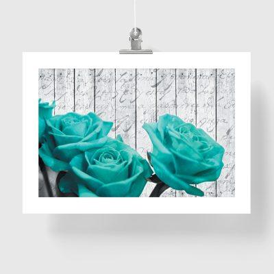 plakat róże drewniane deski