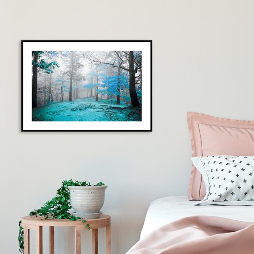 plakat z turkusowym drzewem
