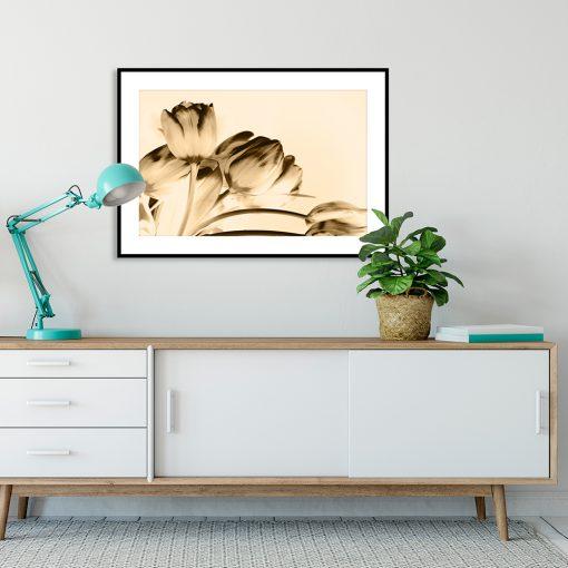 plakat w sepii kwiaty