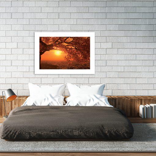pomarańczowy plakat nad łóżko