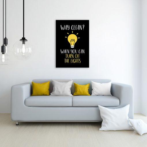 plakat napisy żarówka