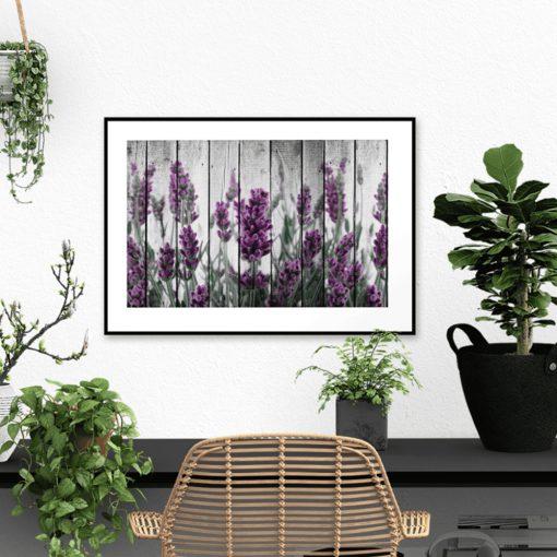 plakat kwiaty malowane na drewnie
