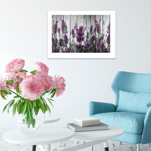 kwiaty i element drewniany plakat