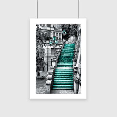turkusowy plakat ze schodami