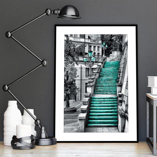 kamienne schody na plakacie