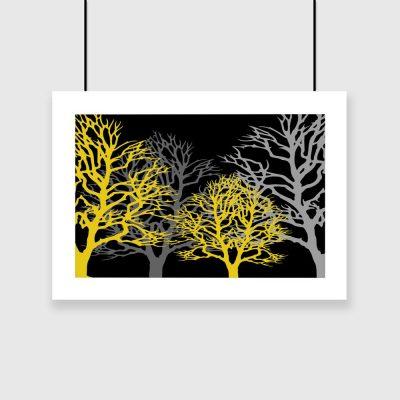 żółte i szare drzewa na plakacie