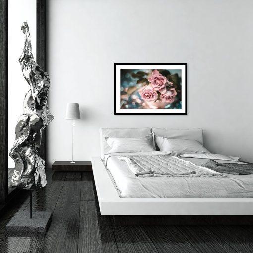 plakat różowe kwiaty