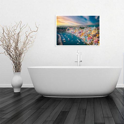 plakat z widokiem do łazienki