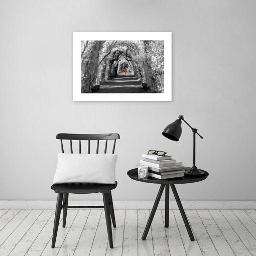 czarno-biały plakat z czerwony elementem
