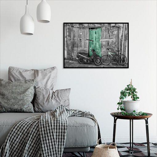 plakat do sypialni z elementem turkusowym