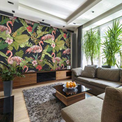 fototapeta tropikalna z flamingami