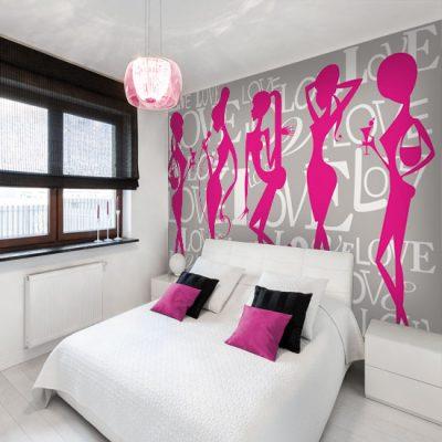 Różowa fototapeta na ścianę do sypialni