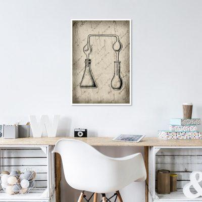 plakat z fiolkami chemicznymi do biura