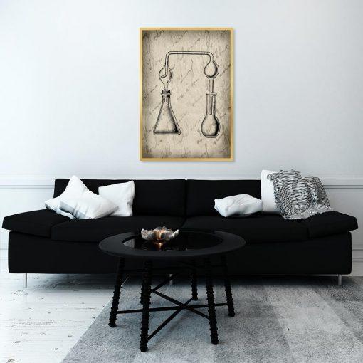 plakat z fiolkami na ścianę salonu