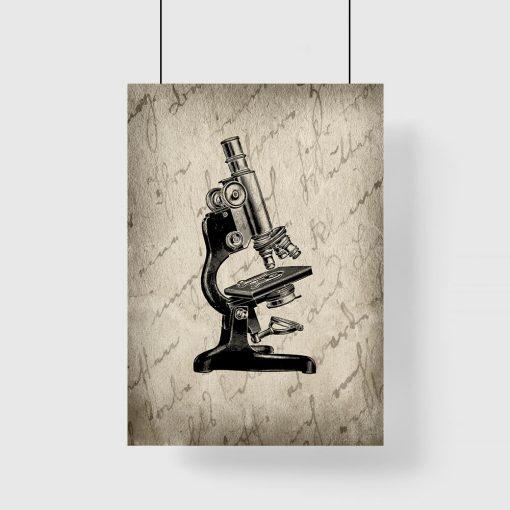 plakat z motywem mikroskopu