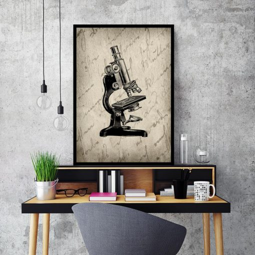 plakat z motywem mikroskopu na ścianę salonu