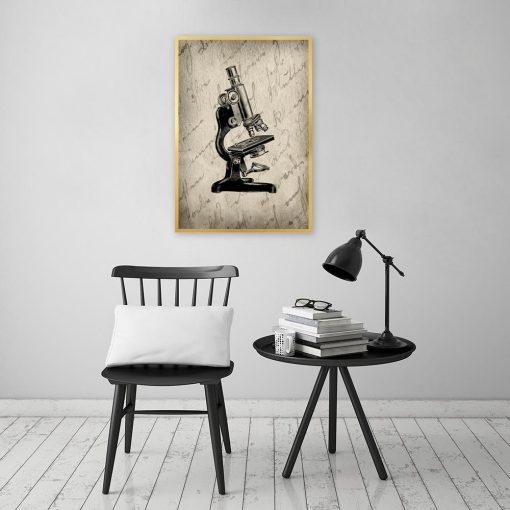 plakat z motywem mikroskopu do salonu