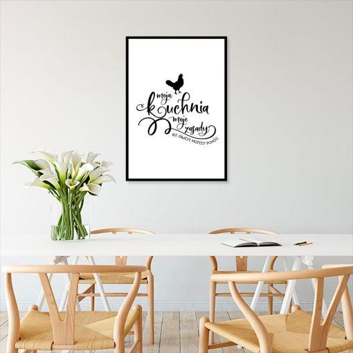 plakat z napisem moja kuchnia moje zasady ale zawsze możesz pomóc