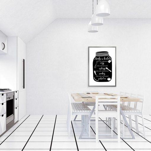 plakat z napisami na słoiku do kuchni