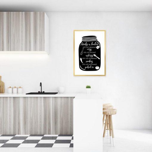 plakat czarno-biały z zasadami do kuchni