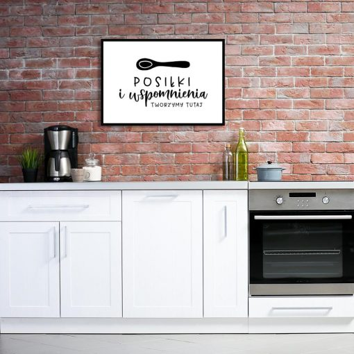 czarno-biały plakat z napisem Posiłki i wspomnienia tworzymy tutaj